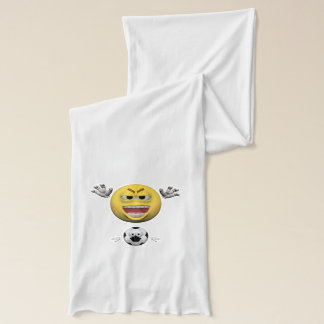 Yellow soccer emoticon or smiley scarf