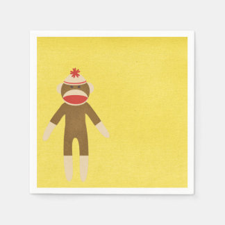 Yellow Sock Monkey Disposable Napkins