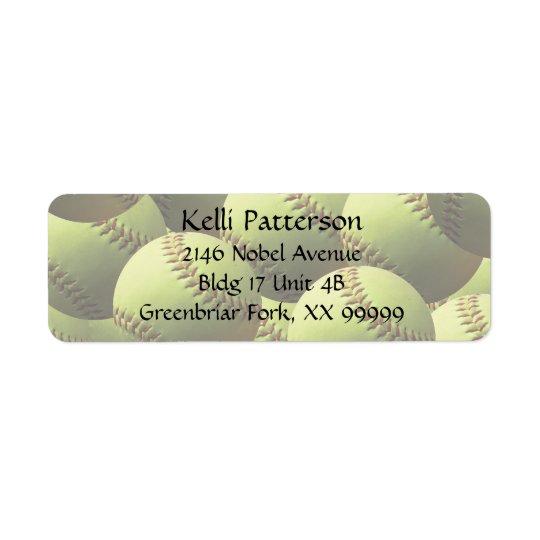 Yellow Softball 4 line Return Address Label