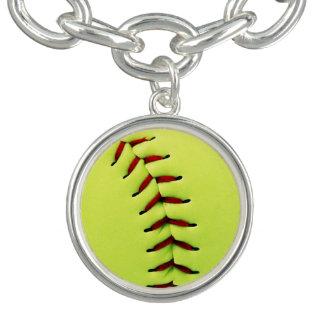 Yellow softball ball charm bracelet