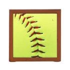 Yellow softball ball desk organizer