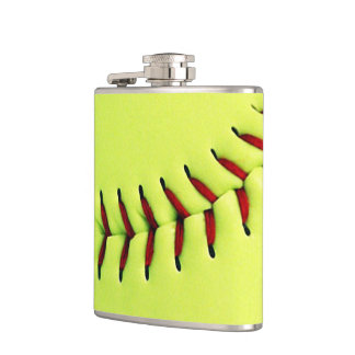 Yellow softball ball hip flask