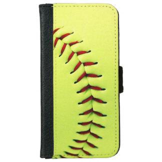 Yellow softball ball iPhone 6 wallet case