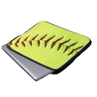 Yellow softball ball laptop computer sleeve