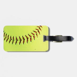 Yellow softball ball luggage tag