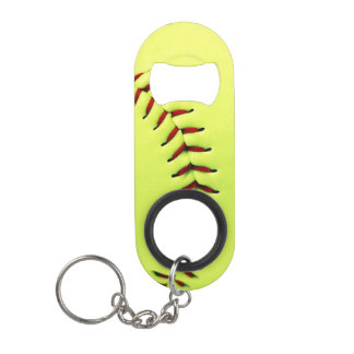 Yellow softball ball mini bottle opener