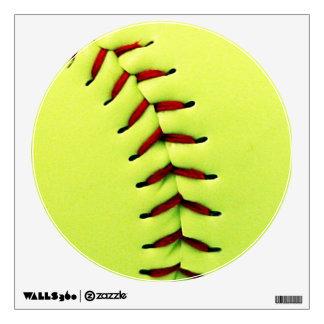 Yellow softball ball wall decal