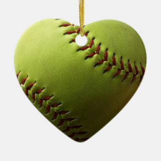 Yellow Softball Closeup Ceramic Heart Ornament