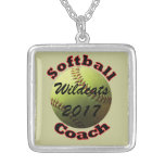 Yellow Softball Coach Personalized Necklace
