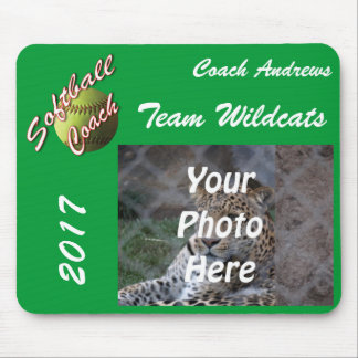 Yellow Softball Coach Script with Team Pic Text Mouse Pad
