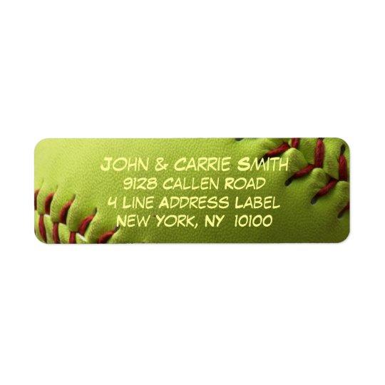 Yellow Softball Covered Return Address Label