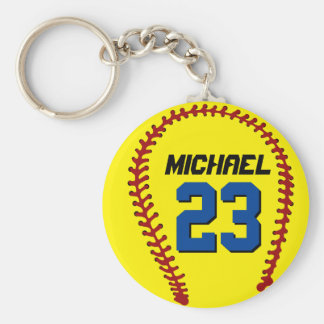 Yellow Softball Keychain for Sports Fan or Athlete