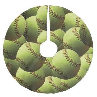 Yellow Softball Multi Ball Brushed Polyester Tree Skirt