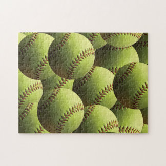 Yellow Softball Multiple Balls Layered Jigsaw Puzzle