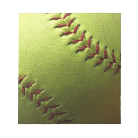 Yellow Softball Notepad