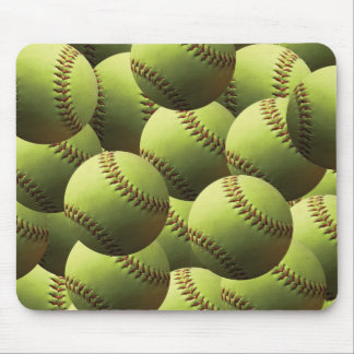Yellow Softball Papered Mouse Pad
