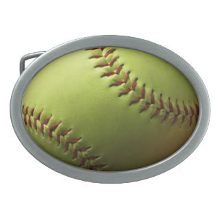 Yellow Softball Photo Oval Belt Buckles