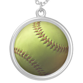 Yellow Softball Single Silver Plated Necklace