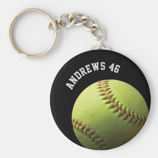 Yellow Softball with Name or Text Keychain