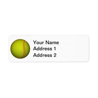 Yellow Softball With Pink Stitches Return Address Label