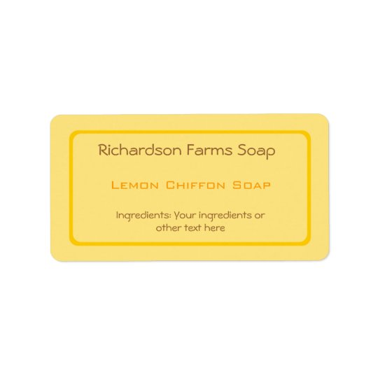Yellow Solid Colour Soap Label