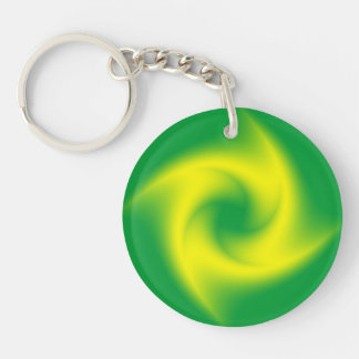 Yellow Spiral on Green Double-Sided Round Acrylic Keychain