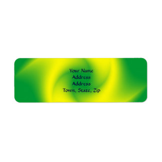 Yellow Spiral on Green Return Address Label