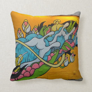 Yellow Splash Streetart Pillow