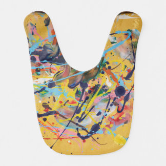 Yellow Splat Painting Baby Bib