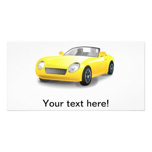 Yellow sports car cartoon personalized photo card