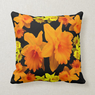 YELLOW SPRING DAFFODILS & CHARCOAL GREY COLOR ART THROW PILLOW