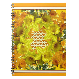 YELLOW SPRING DAFFODILS GARDEN  PATTERN NOTEBOOK