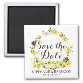 Yellow Spring Floral Wreath Save The Date Magnet