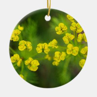 Yellow Spring Flowers Ceramic Ornament