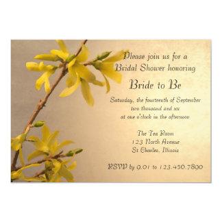 Yellow Spring Forsythia Flowers Bridal Shower Card