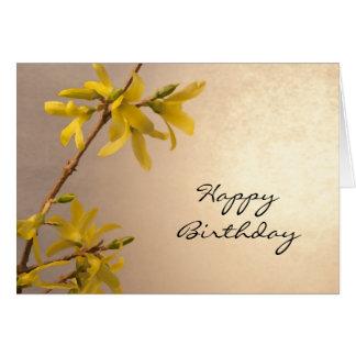 Yellow Spring Forsythia Happy Birthday Card