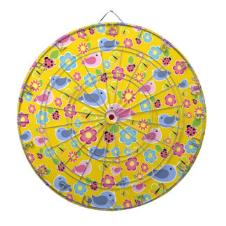 Yellow spring pattern dartboard with darts