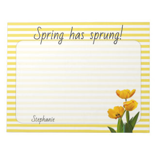 Yellow Spring Tulips Floral Photography Striped Notepad