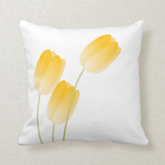 Yellow Spring Tulips Floral Throw Pillow