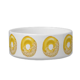 Yellow Sprinkles Doughnut. Cat Food Bowls