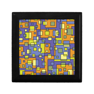 Yellow squares background gift box
