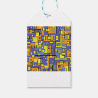 Yellow squares background gift tags