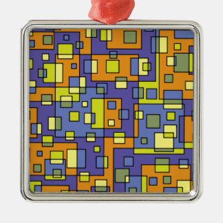 Yellow squares background metal ornament