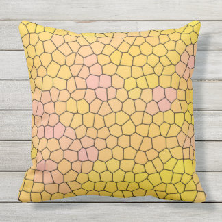 Yellow Stained Glass Mosaic Design Throw Pillow