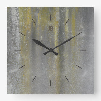 YELLOW STAINED METAL   industrial decor Square Wall Clock
