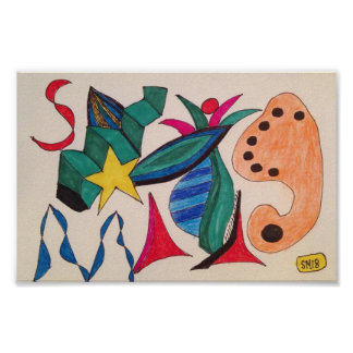 Yellow Star Abstract Drawing Twists Turns Poster