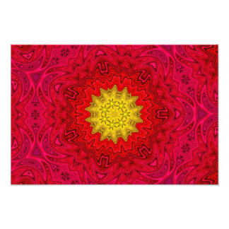 Yellow Star on Red Mandala Photo Art