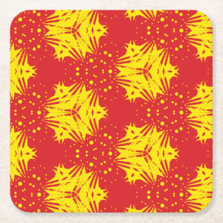 Yellow Star Pattern Paper Coaster