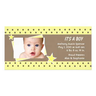 Yellow Star Photo Birth Announcement Photo Cards