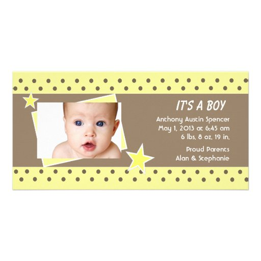 Yellow Star Photo Birth Announcement Customized Photo Card